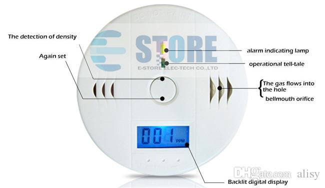 CO Carbon Monoxide Detector Smoke Home Alarm Safety Gas Fire Poisoning Warning Alarm Sensor Battery Operated Alert LED Display