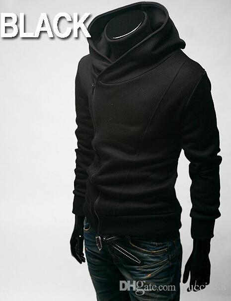 2015 HOT monde Coréia de volta para shool Oblique zíper dos homens Casaco dos homens Com Capuz dos homens Casaco 4 cores preto plus size mens casacos