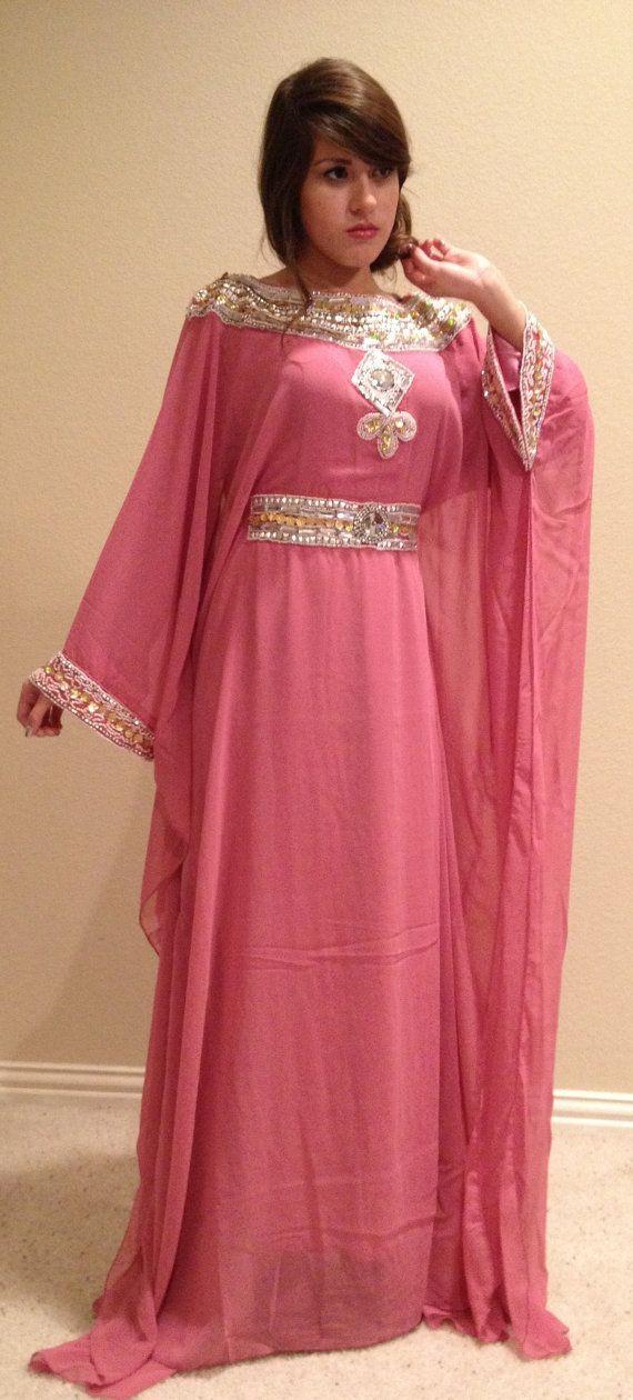Rosa gasa árabe mujeres maxi vestido con cuentas Dubai Caftán Vestidos de fiesta de la tarde 2015 Vestidos de Festa Mangas largas Partido Vestidos formales