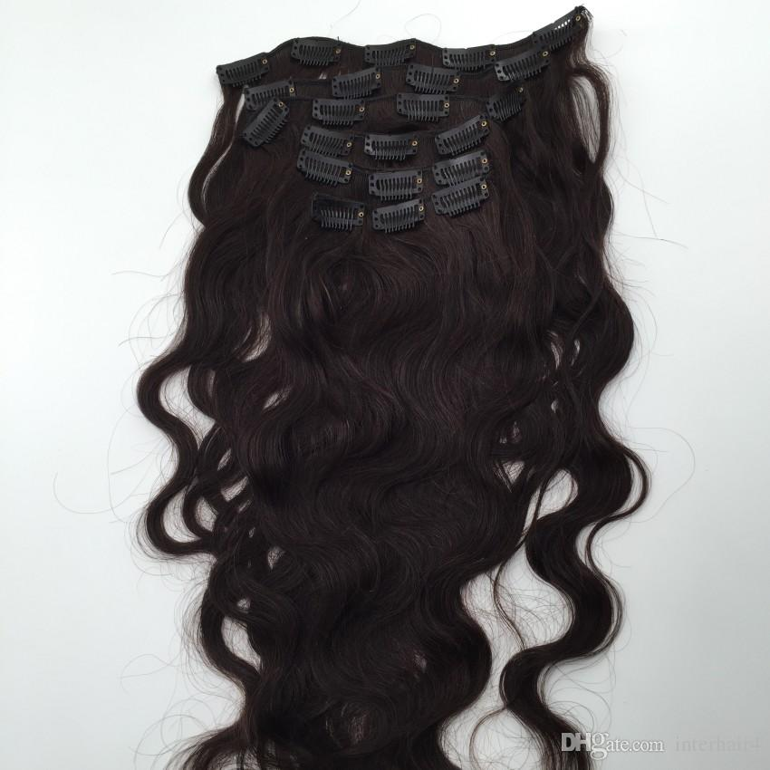 Естественный черный бразильский девственные волосы тела волна клип в наращивание волос 120 г 7 шт клип в человеческих волос клип Реми в волнистые волосы