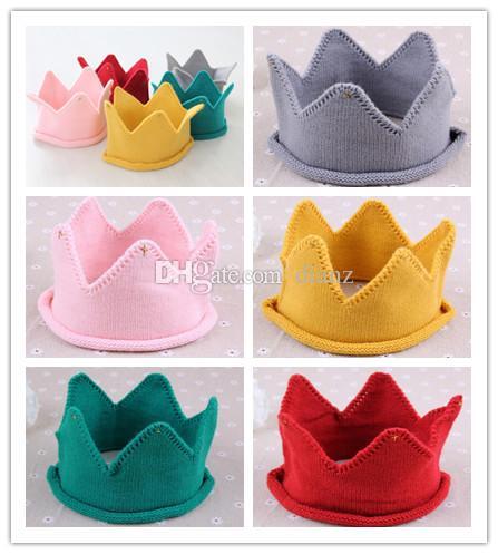 Mode Hot Baby Knit Crown Tiara Kinder Infant Häkeln Stirnband kappe hut geburtstag party Fotografie requisiten Beanie Mütze