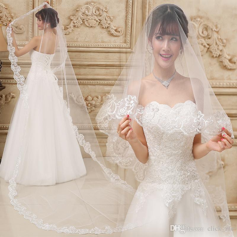 5 Meters Lone Wedding Veils With Lace Applique Edge Tulle Cathedral Length Bridal Veils In Stock Wedding Accessories