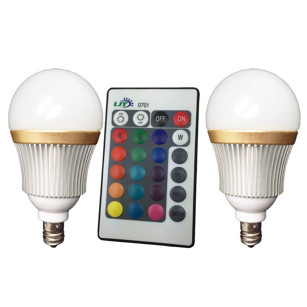 Best Ljy 2 Pack E12 Candelabra Base 3w Rgb Led Light Remote ...