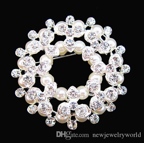 Silver Plated Factory Direct Sale Imitation Pearl Flower Wreath Pretty Brooch Wedding Bridal Bouquet Decoration Brooch BQ0117