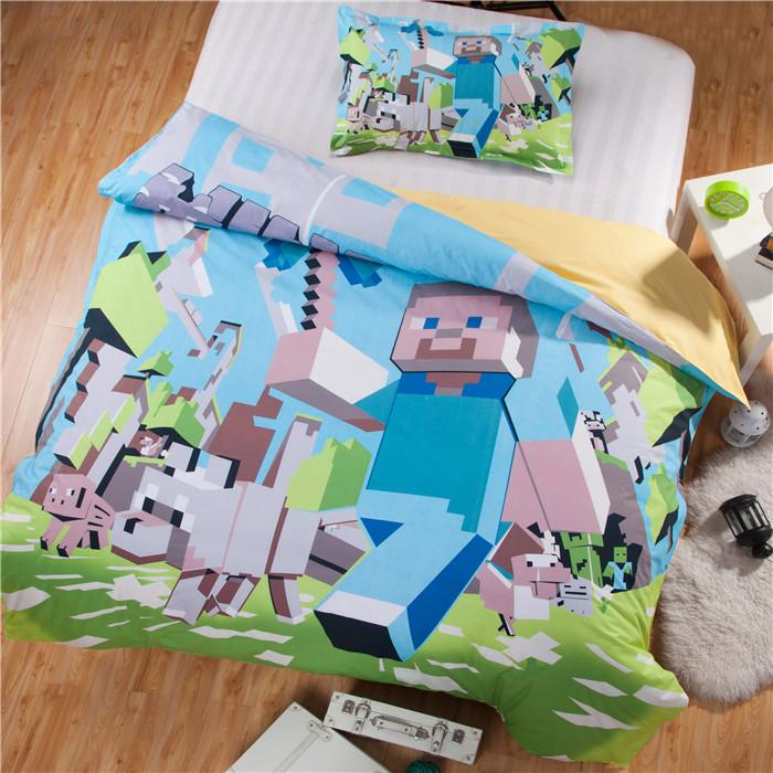 2015 new 3d bedding set minecraft kids bed set twin full queen size duvet cover pillow sham online game character twin bedding set full size comforter set - Minecraft Bedding Set