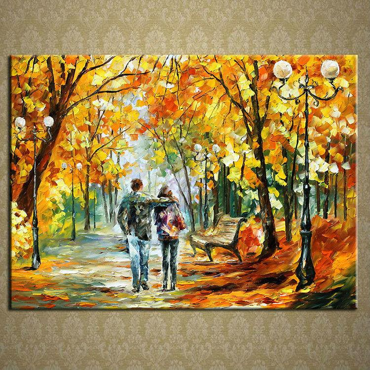 Stretched Beautiful Autumn Scenery Knife Oil Painting