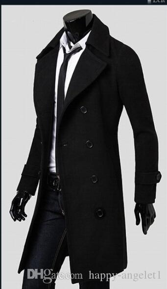 2015 Autumen och Winter Fashion New Men Trench Coats Mäns Slim Fit Lapels Plus Sieze Business Casual Long Trench Coat Herrkläder @ 2834
