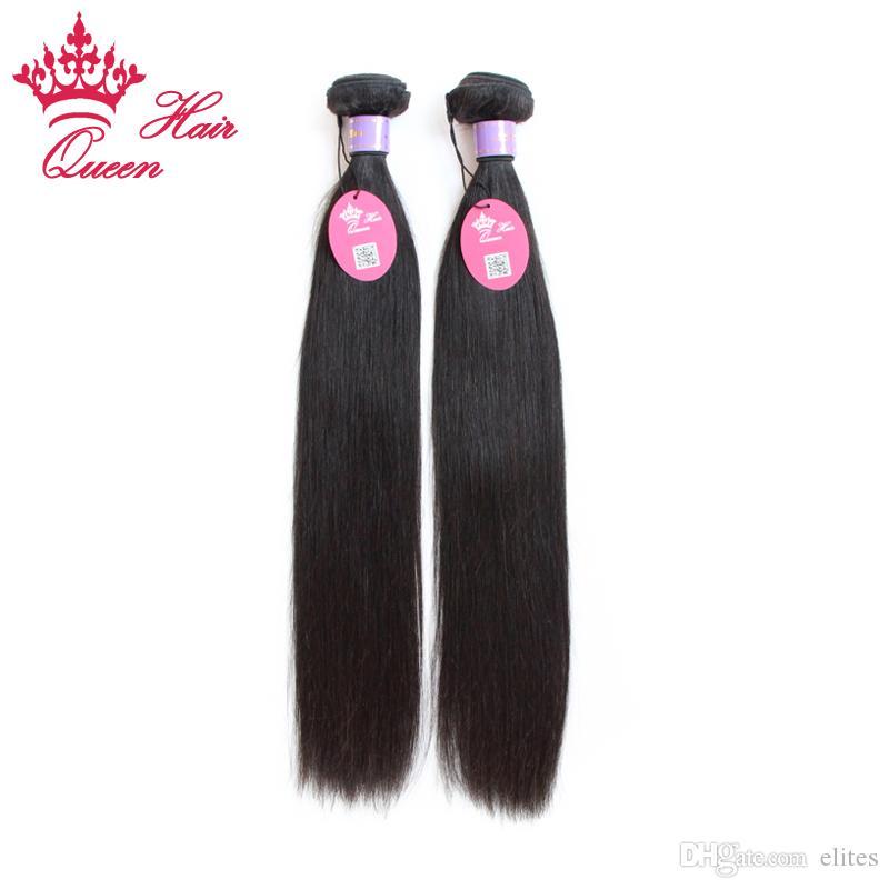 クイーンヘアー製品5ピース/ロットミックスレングスバージンマレーシア髪ストレート人間の髪織りDHL速い船積み