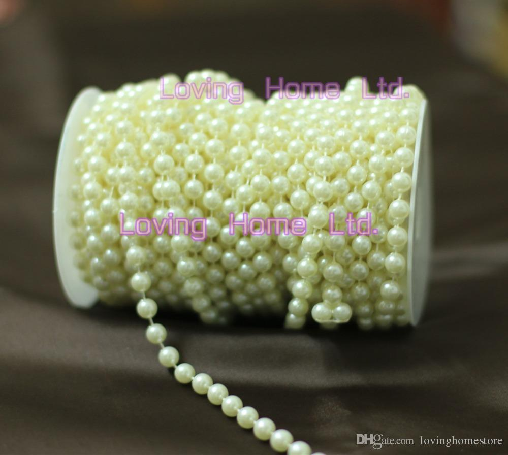 Tissue Box Placemats 8mm Ivorylight Beige Pearl Round Strands Garland Spool Beads Home Ceremony Wedding Favor Christmas Centerpiece Decor