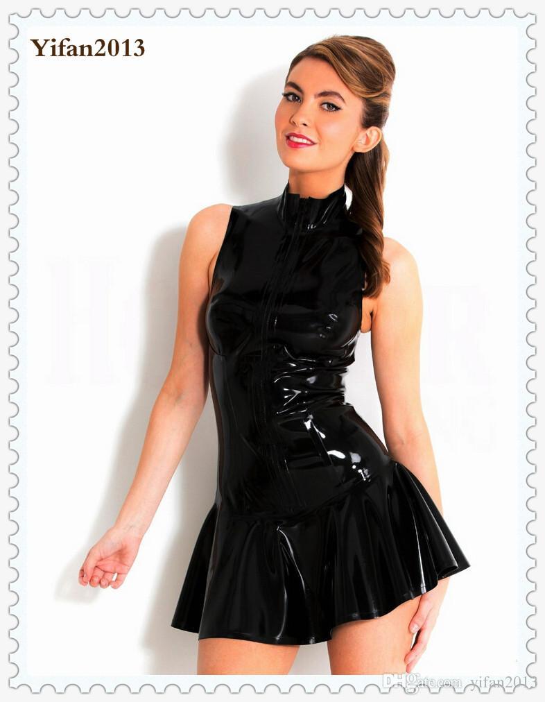Plus Size S-XXL Top Quality Lady Sexy PVC Leather Latex Dress Sleeveless With Zipper Bodycon Catsuit Bondage Clubwear Pole Dance Costume