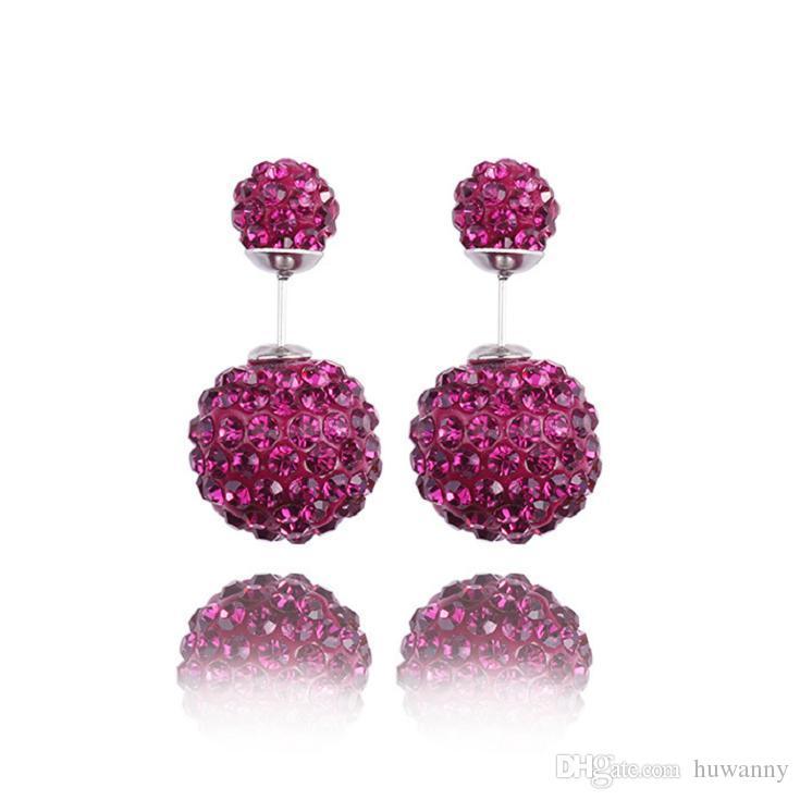 Earrings Shambhala Stud Earrings Hot Sale Silver Double Ball Stud Earrings For Women Girl Fashion Jewelry Wholesale 0266WH
