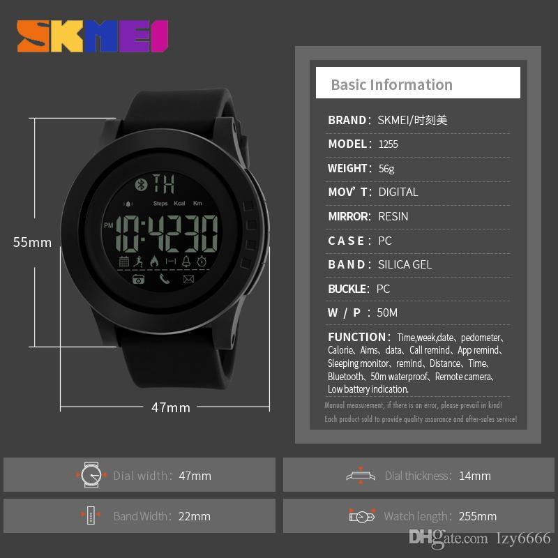 Skmei 2019 männer und frauen universal smart watch kalorien multifunktions fernbedienung kamera 50 mt wasserdichte digitale herren smartwatch rel