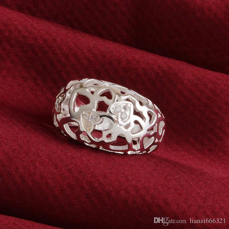 Livraison Gratuite Nouveau 925 Sterling Silver bijoux de mode Classique diamant bagues vente chaude fille cadeau 1497