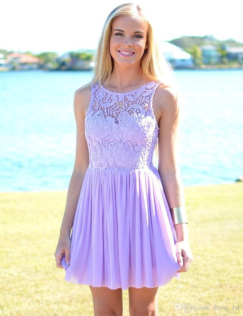 2018 Lavender Lace And Chiffon Short Beach Country Bridesmaid Dresses Cheap Crew Ruched Wedding Party Dress Custom Made From China EN11251