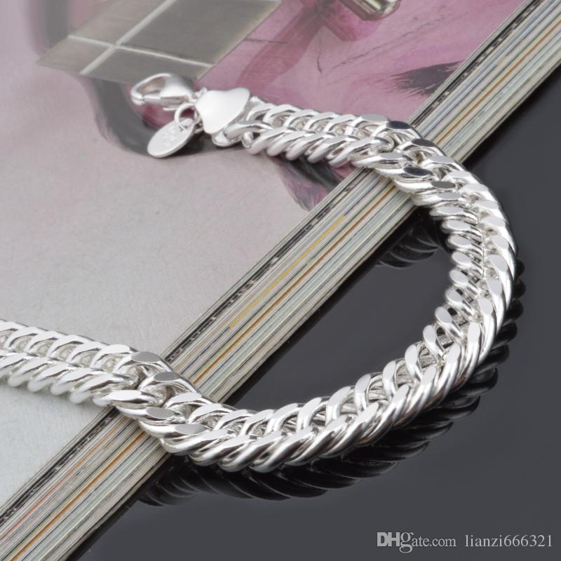 HOT 925 STERLING SILVER PLATED 10MM MEN'S FIGARO BRACELETS Silver Bracelet JEWELRY with traching number 1800