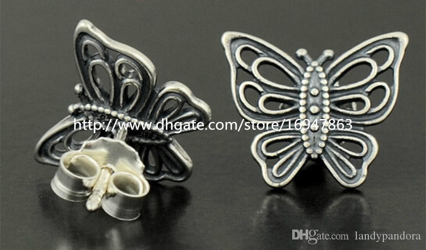 Nuevo 100% S925 Sterling Silver European Pandora Style Jewelry Love toma Flight Stud Pendientes