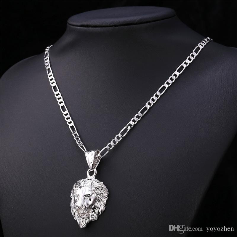Ny vintage Big Classical Lion Head Pendants 18K Real Gold Plated Choker Halsband Flytande Charm Smycken Partihandel