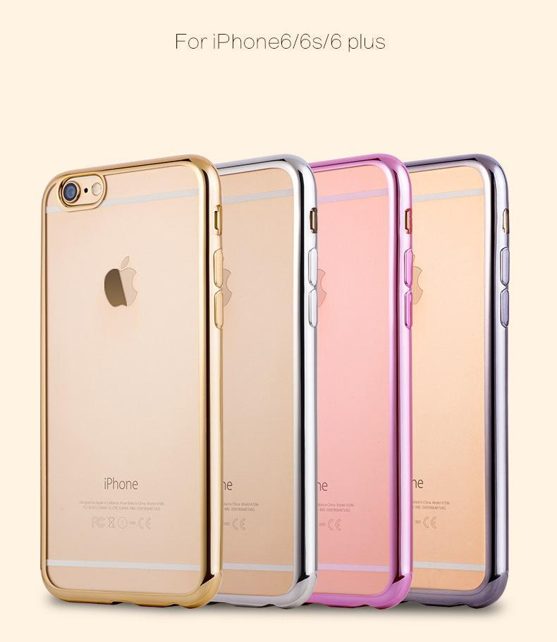 TPU Backcover Ultra-Thin Case for iphone 6 6s Electroplating Technology Soft Gel Silicone Case Samsung s6 s7 edge For Iphone 6 6S