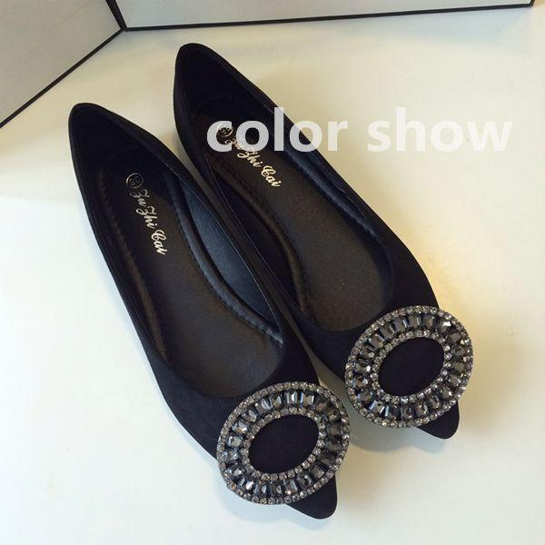 South Korea orders a flat round diamond shoes intellectual elegant Mimi buckle fashion low autumn shoes shoes bag mail @07
