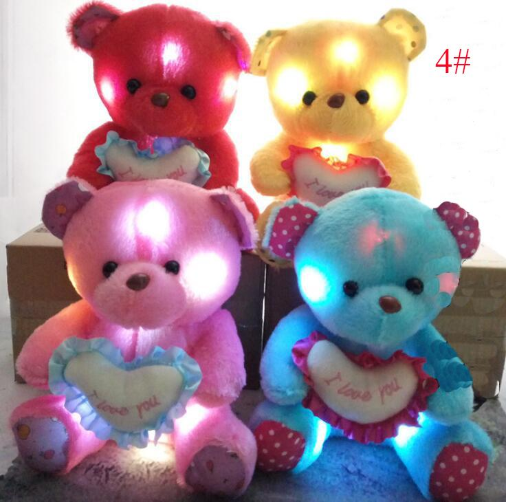 27 Styles 18-35cm Creative Light Up LED Teddy Bear Stuffed Animals Plush Toy Colorful Glowing Teddy Bear Christmas Gift for Kids