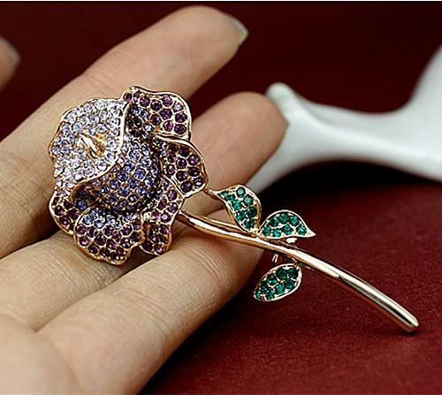 Sparkly Gold/Silver Plated Mix Color Rhinestone Crystal Diamante Rose Flower Bridal Brooch pin For Wedding or Party