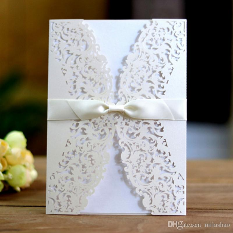 Wedding engagement shower love greeting card laser cut include covers blank inserts envelops ribbon decorated mulit colors