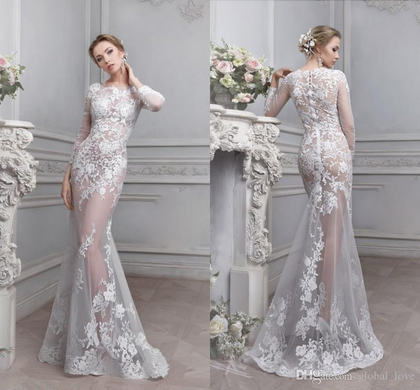 Superb 2017 Vintage Lace See Through Wedding Dress Sheer Illusion Bodice Cheap  Long Sleeves Wedding Gowns Celebrity Mermaid Wedding Dresses Wedding Dress  With ...