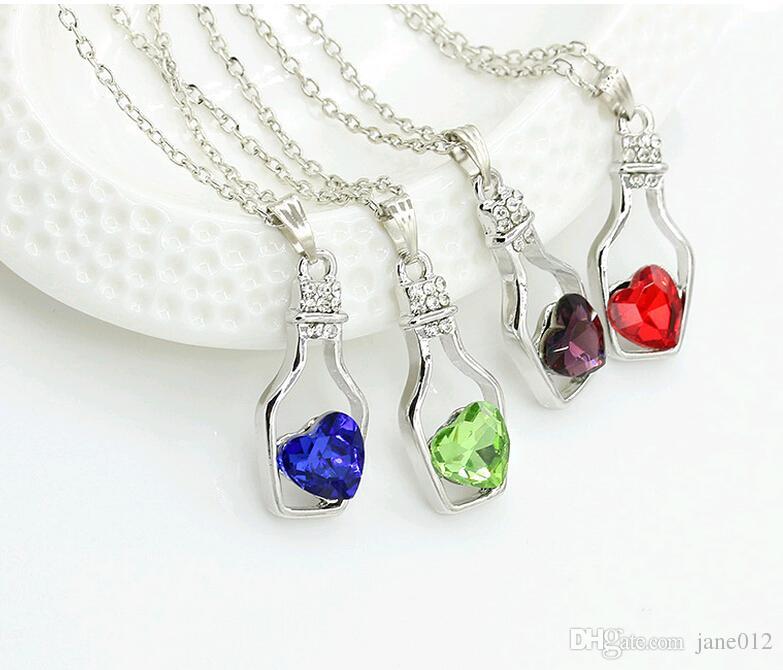 متمنيا زجاجة مجوهرات القلب قلادة القلائد الأزياء كريستال التألق ستون sautoir للبنات بيع رخيصة 8 ألوان