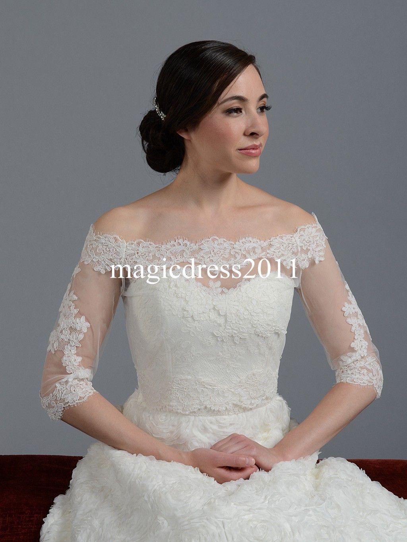 Lace Sheer Off Shoulder 2015 Jackets Bridal Wraps Shawl Bolero Shrugs Stole Cloak Caps Half Sleeve Tulle Bridesmaid Wedding Dress Wrap FJ012