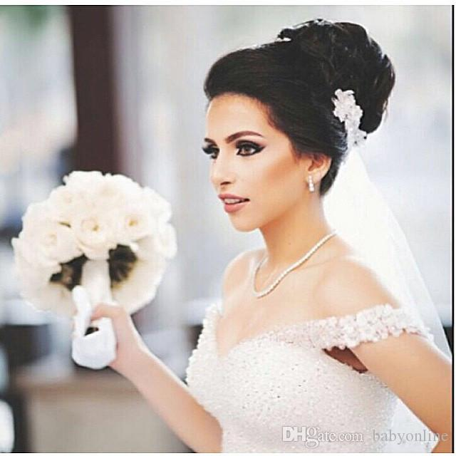 Gorgeous Crystals Sparkly White Ball Gown Wedding Dresses Formal Off the Shoulder Sequins Beading Lace-up Back Church Bridal Gowns Puffy