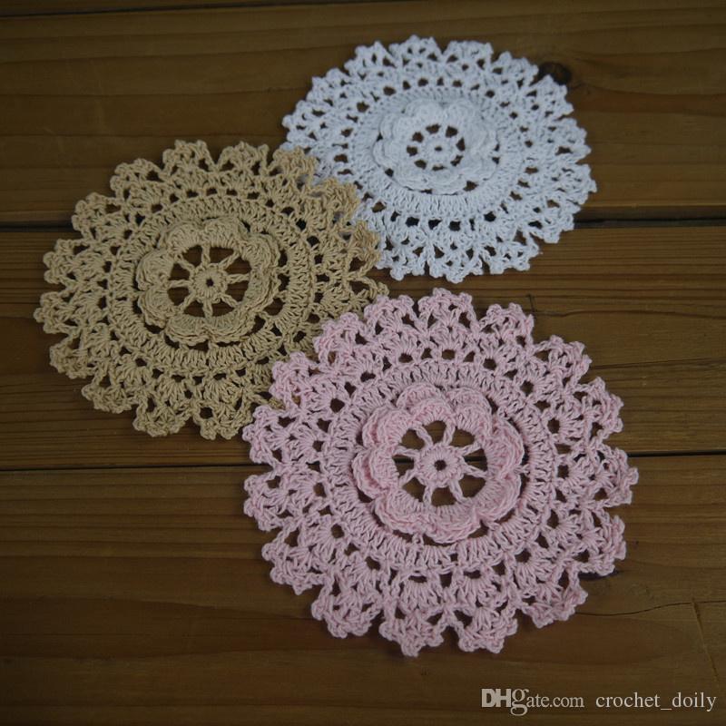 30Piese -15 design-- pink white beige Vintage Hand Crochet Doilies Round Coasters mats applique Cotton Home wedding decoration
