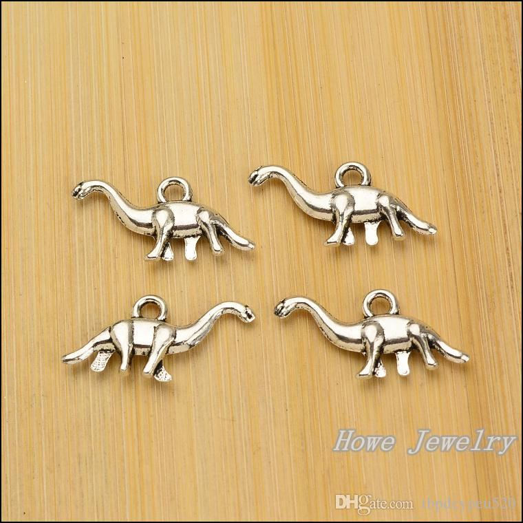 Charms Antique Plated Silver Zinc Alloy Dinosaur Fit Pendant Bracelet Necklace DIY Jewelry 27*13mm