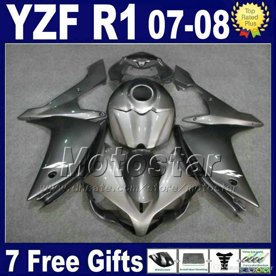 Metallic Gray INJECTION Fairing kit + tank cover for YAMAHA R1 2007 2008 yzf r1 07 08 fairings 3G61