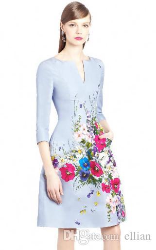 f69ab3e8a4f125 Großhandel Mode Blumendruck Frauen A Line Kleid Halbarm Lässige Kleider  150815172E Von Ellian