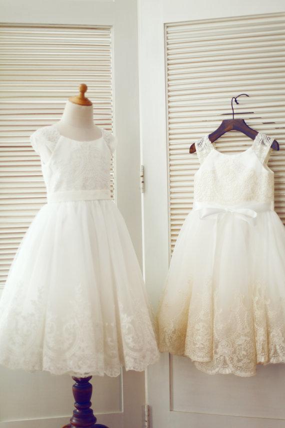 a28328bf556 Cap Sleeves Ivory Champagne Lace Tulle Flower Girl Dress Junior Bridesmaid  Dress Toddler Communion Baptism Dress For Wedding Ivory Tulle Flower Girl  Dresses ...