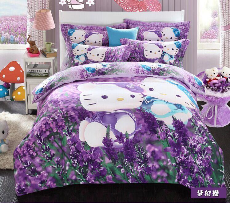 2015 new 3d cartoon bedding set hello kitty bedding set kids bed