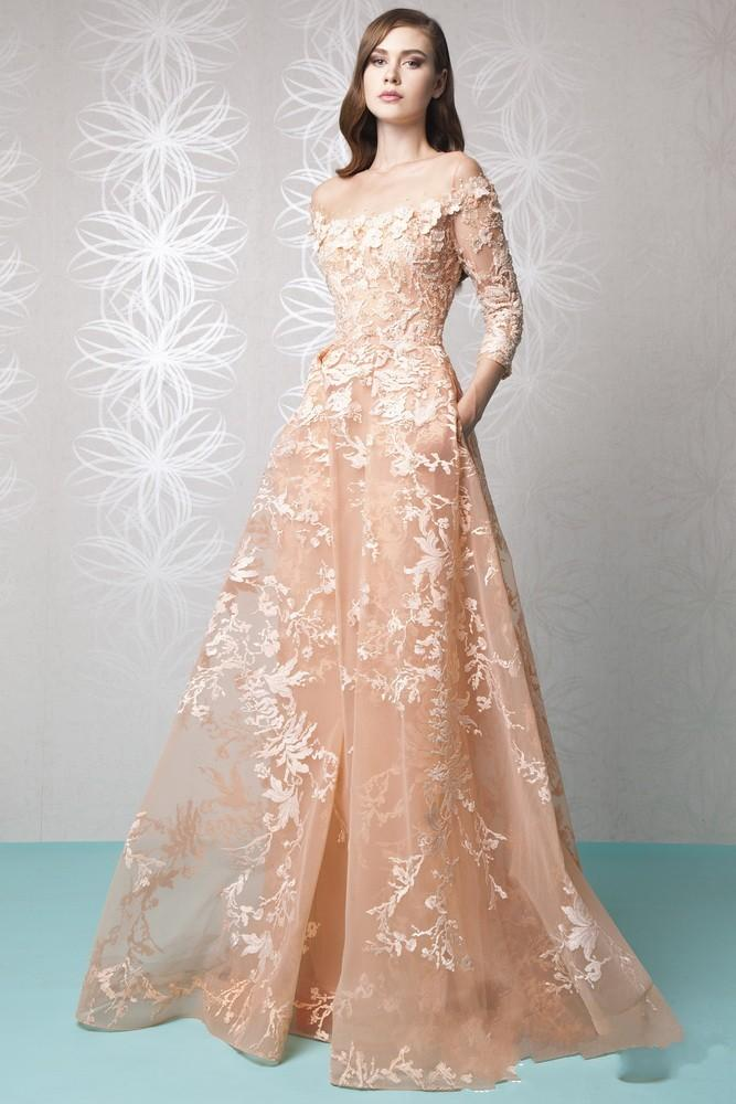 Платье выпускного вечера с длинным рукавом Red Carpet 2016 Тони Уорд Платье Знаменитости Sheer Прозрачный Цветочный Узор Аппликация Вечерние Платья Высокого Качества