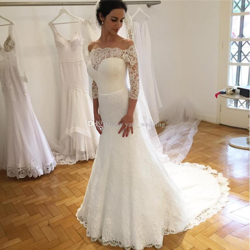 2018 Elegant Lace Mermaid Wedding Dresses Off Shoulder 3/4 Long ...