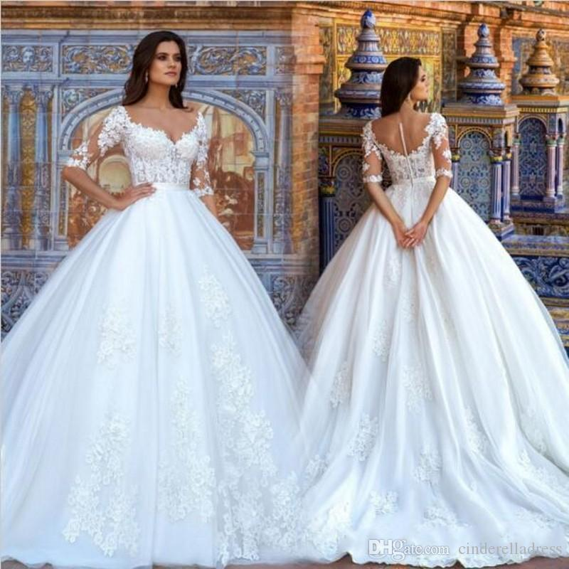 Discount Elegant Puffy A Line Wedding Dresses Sheer Illusion Half ...