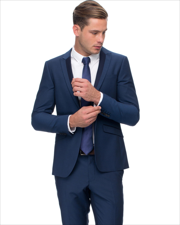 Custom Made Charming 2016 Black Navy Blue Groom Tuxedos Slim Fit ...