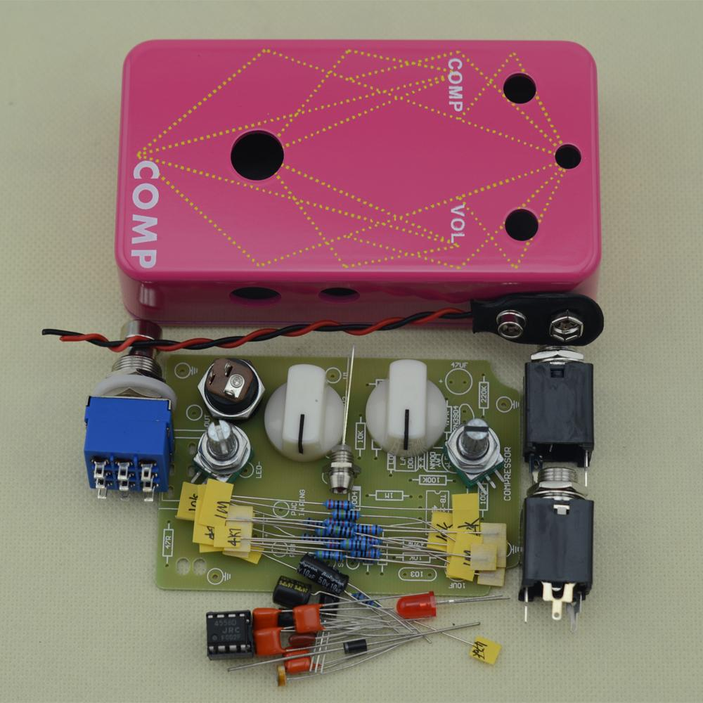 DIY Electric Compressor stomp Pedal Guitar Effect pedal/ True Bypass pedal  drilling aluminum pink box kit Free SHIPPING