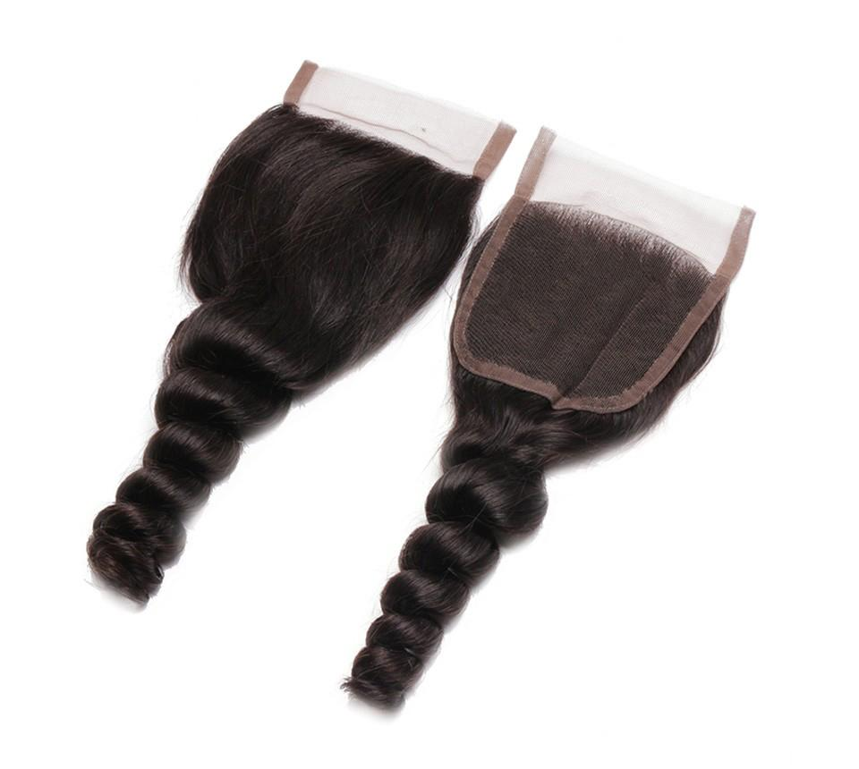 البرازيلي العذراء الشعر فضفاض موجة الدانتيل إغلاق الطفل الشعر الجزء الأوسط مجانا الجزء 3 الجزء الحرير قاعدة 4 × 4 الدانتيل أعلى إغلاق