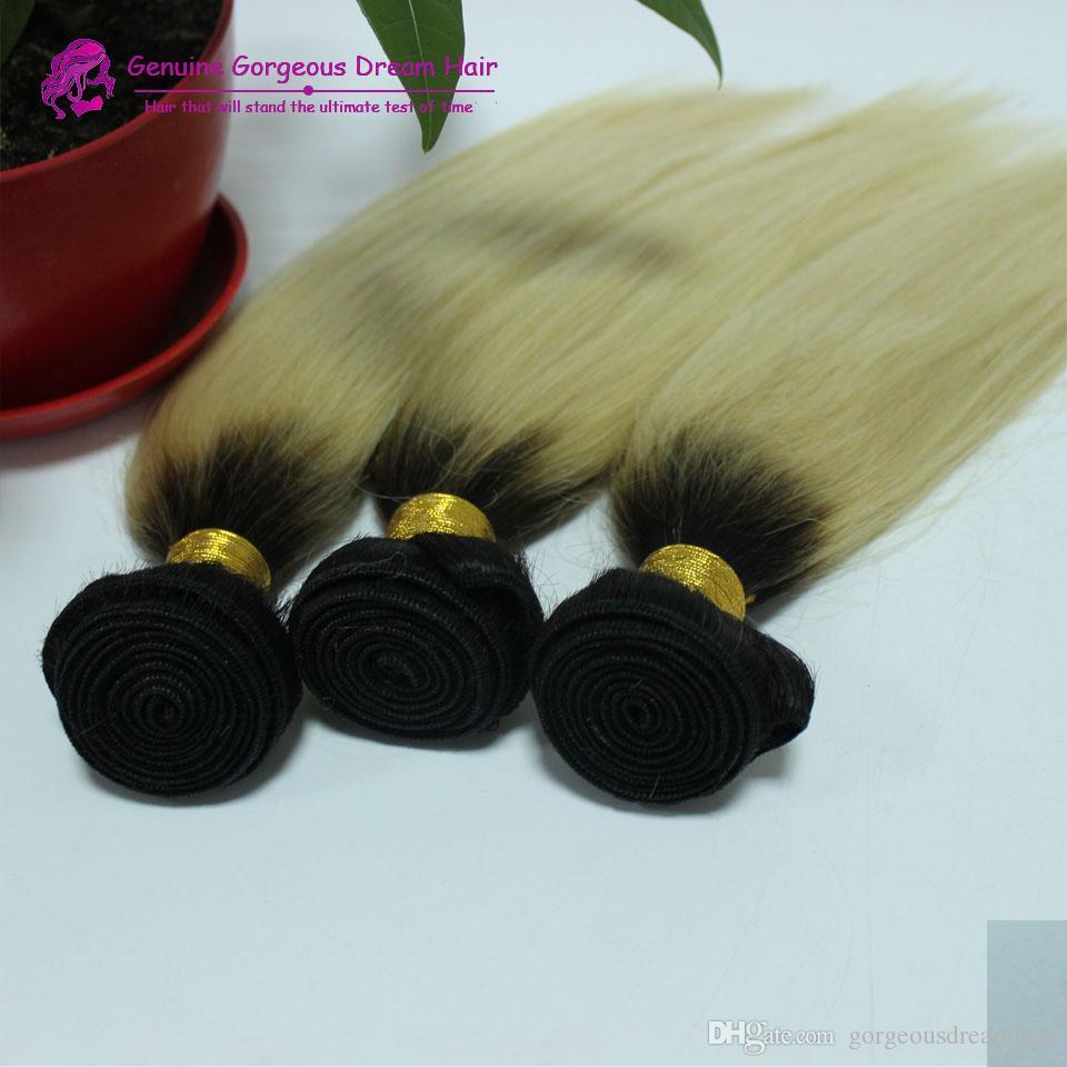 Indio peruano malasio # 1B / 613 Cabello liso Cabello humano sin procesar / trama cabello rubio humano tejido 18 22 24 pulgadas