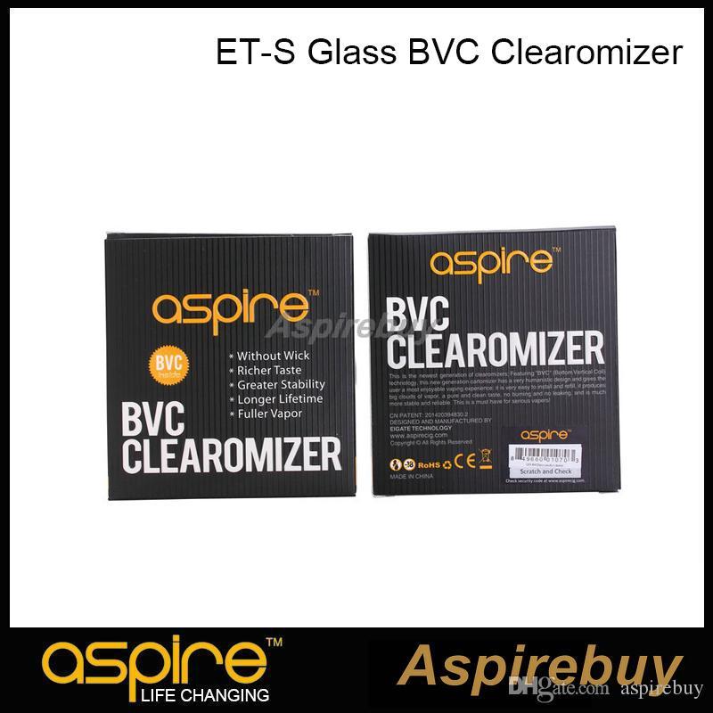 100% Authentic Aspire ET-S BVC glass Clearomizer BVC Tank Bottom Vertical Coil Tank Dual Coils Atomizer