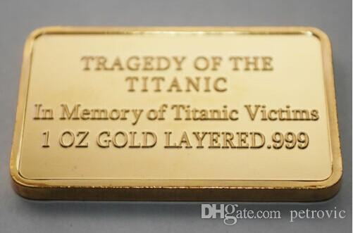 A true love story Titanic 1912 Rose and Jack Russia gold plated bullion bar souvenir coin.
