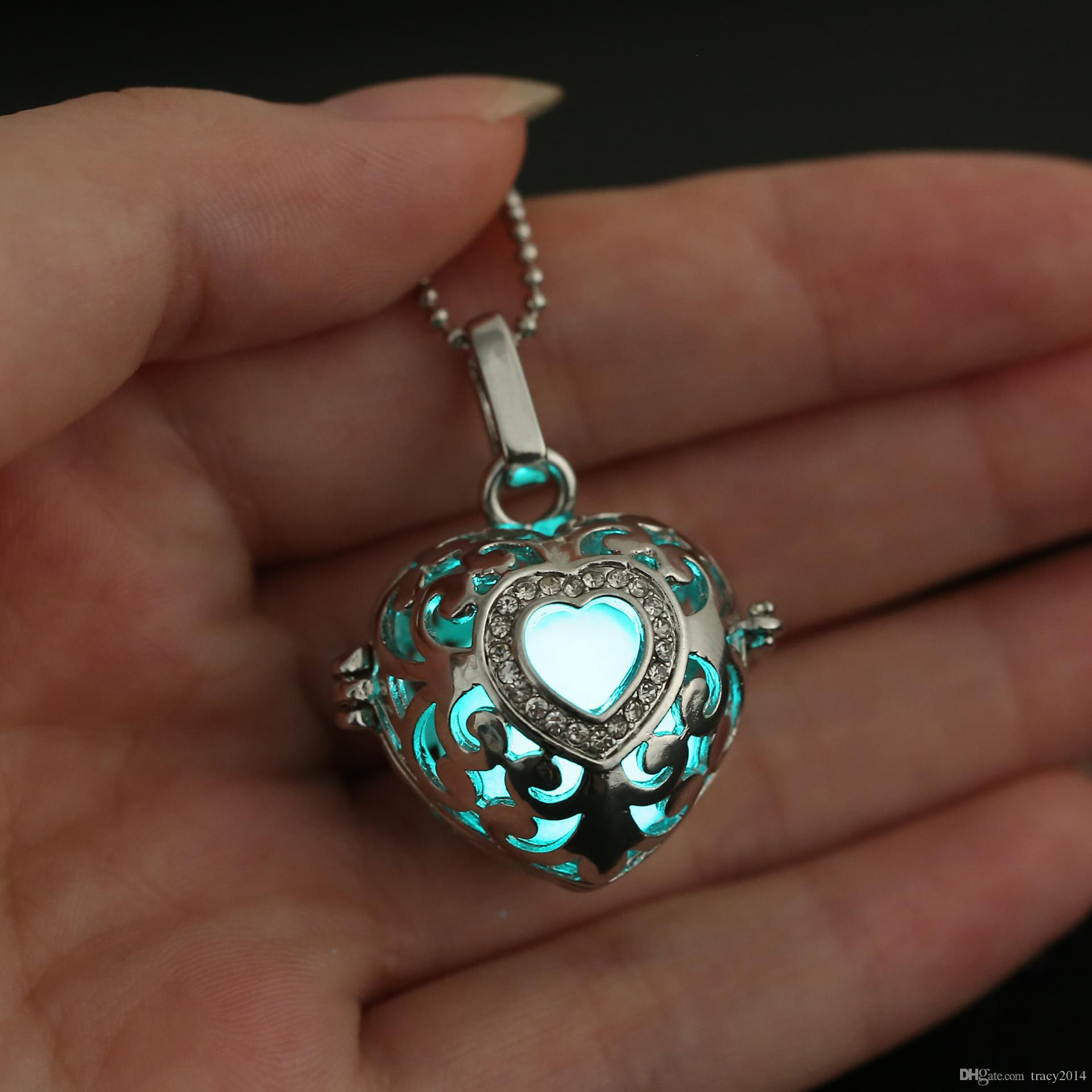 LED Harmony Ball Pregnancy Ball in Pendants Heart shaped clavicle chain hollow pendant Copper Metal Angel ball in Chain Necklaces