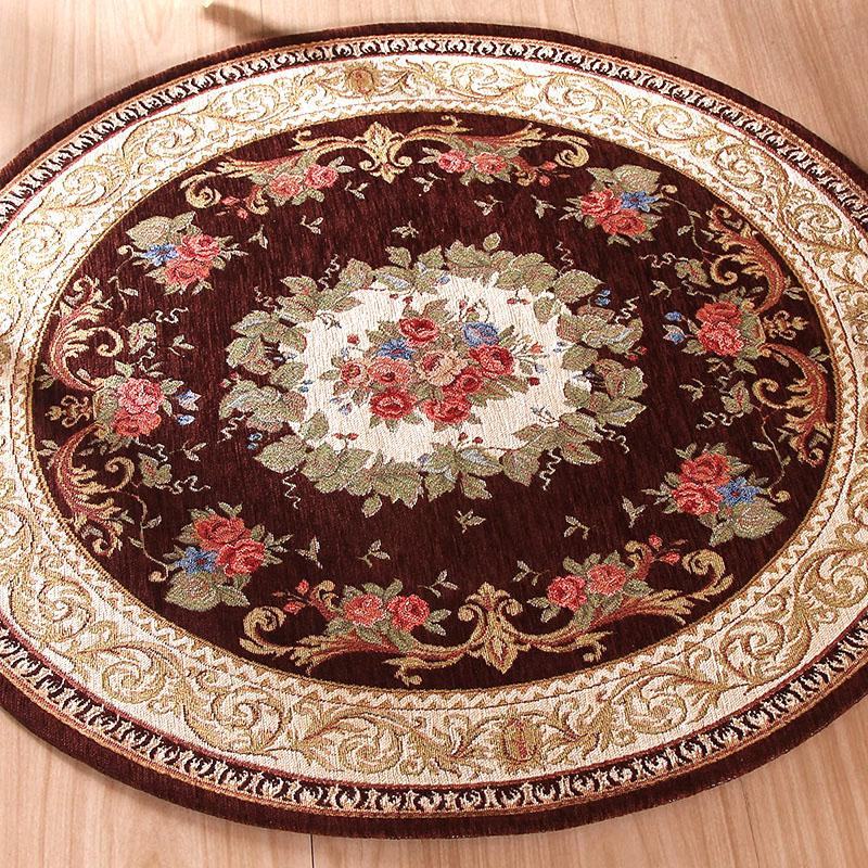 Round Jacquard Carpet Water Absorption Floor Rug Solid