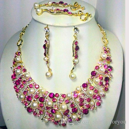 Pink Bridal Jewelry Set Faux Pearls Crystal Necklace Earrings 18k