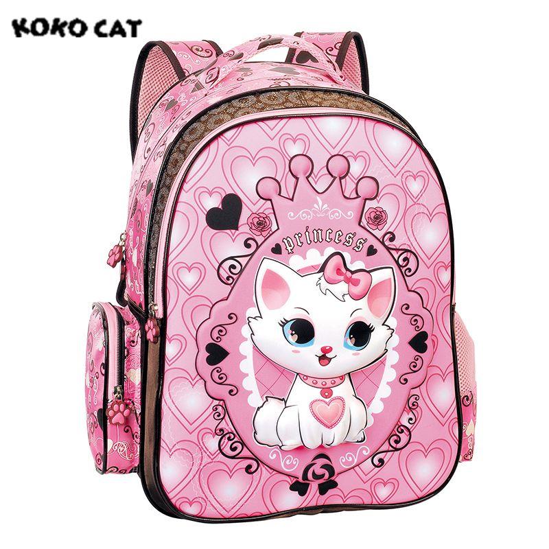 725e50a052f5 2017 Children School Backpack Cute Cat Kids Bags Pink Bookbag Female School  Backpacks For Teens Girls Student Schoolbag Laptop Bags For Women Shoulder  Bags ...