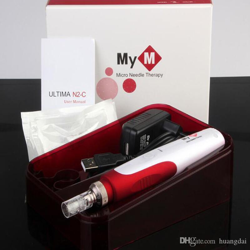 Sistema de Microneedle automático de 5 velocidades Longitudes de aguja ajustables 0.25mm-3.0mm derma pen MYM ULTIMA N2-C dermapen con cartucho / DHL